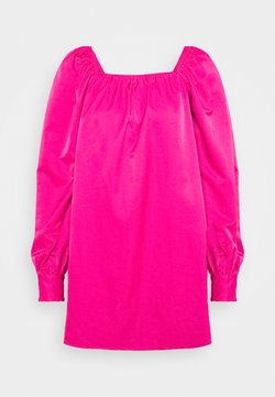 Who What Wear - RUCHED LONG SLEEVE BABYDOLL - Robe d'été - magenta