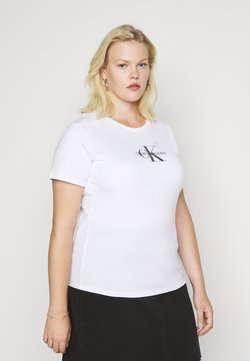 Calvin Klein Jeans Plus - GLITTER MONOGRAM TEE - T-Shirt print - white