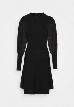 Dorothy Perkins - DOBBY SLEEVE DRESS - Vestido de punto - black