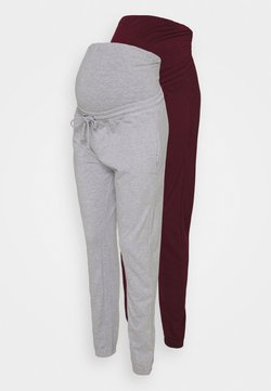 Missguided Maternity - MATERNITY BASIC JOGGER 2 PACK - Jogginghose - grey marl/burgundy