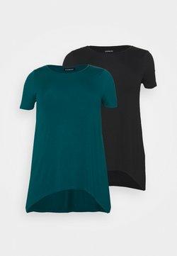 Even&Odd Curvy - 2 PACK - T-Shirt print - black/blue