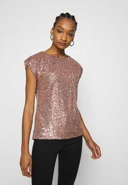 Dorothy Perkins - SEQUIN TEE - Print T-shirt - rose gold
