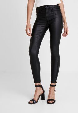 ONLY - ONLROYAL COATED ANKLE ZIP PANT - Jeans Skinny Fit - black