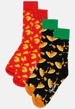 Happy Socks - CHEESE PIZZA 2 PACK - Sokken - black/red
