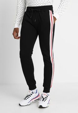 Urban Classics - TERRY TONE SIDE STRIP PANTS - Jogginghose - black/white/firered