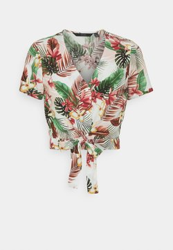 Vero Moda Petite - VMSIMPLY EASY TIETOP - T-Shirt print - birch/selma