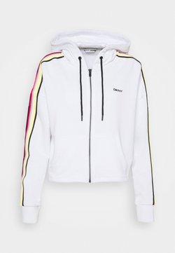 DKNY - CROPPED ZIP HOODIE - Felpa con zip - white