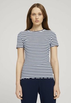 TOM TAILOR DENIM - TEE WITH FRILLED EDGES - T-Shirt print - navy/white