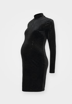 Glamorous Bloom - MINI DRESS WITH LONG SLEEVES CUT OUT BACK AND HIGH NECK - Vestido informal - sparkle black
