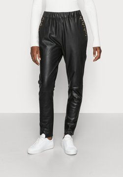 DEPECHE - PANTS - Pantalon en cuir - black