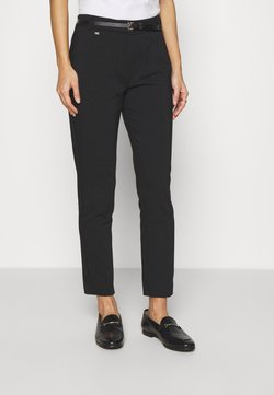 Wallis - BELTED DOUBLE FACE CIGARETTE - Pantalon classique - black