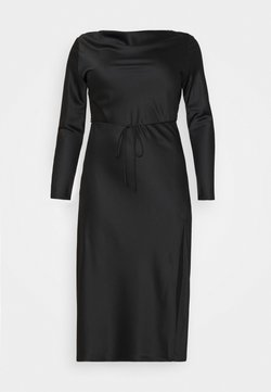 Glamorous Curve - MIDAXI DRESS WITH LONG SLEEVES COWL NECK FRONT AND BACK TIE - Cocktailkleid/festliches Kleid - black
