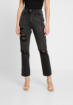 Missguided Tall - WRATH HIGHWAISTED STRAIGHT LEG  - Straight leg jeans - washed black
