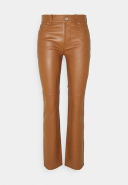 Lauren Ralph Lauren - STRETCH PANT - Leather trousers - brown