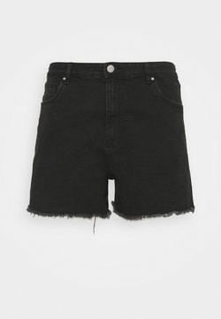 Cotton On Curve - MOM HIGH WAIST - Szorty jeansowe - midnight black