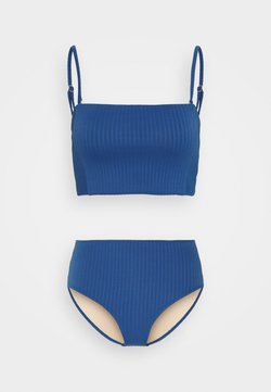 Cotton On Body - LONGLINE BANDEAU HIGHWAISTED FULL SET - Bikini - marina blue