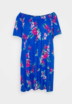 CAPSULE by Simply Be - FLORAL BARDOT DRESS - Jerseykleid - blue