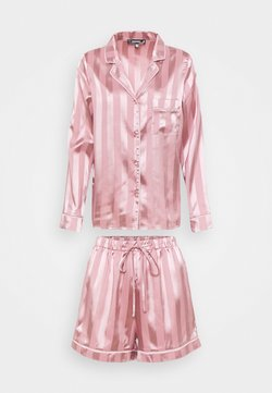 Missguided - STRIPED SHIRT AND SHORTS - Pyjama - pink