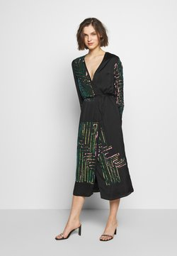 MANÉ - MAZE WRAP DRESS - Cocktailkleid/festliches Kleid - washed black/rose