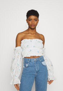 Missguided - BARDOT CROP - Langarmshirt - white