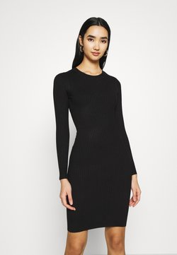 Even&Odd - Knitted jumper mini high neck dress - Vestido de tubo - black