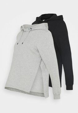 Anna Field MAMA - OVERSIZED HOODIE WITH POCKETS AND NURSING SIDE SLITS 2 PACK - Sweatshirt - black/light grey