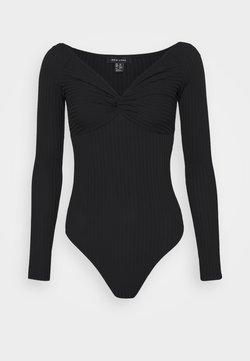 New Look - KNOT FRONT BODY - Langarmshirt - black