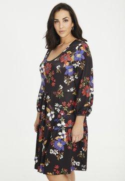 SPG Woman - MIT BLUMEN - Jerseykleid - schwarz