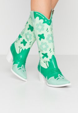 Jeffrey Campbell - LOONEY - Cowboy-/Bikerboot - green/white