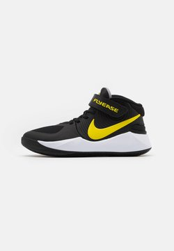 Nike Performance - TEAM HUSTLE D 9 FLYEASE UNISEX - Zapatillas de baloncesto - black/high voltage/white/light smoke grey
