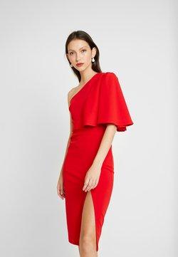 WAL G. - ONE SHOULDER FRILL SPLIT MIDI DRESS - Robe de soirée - red