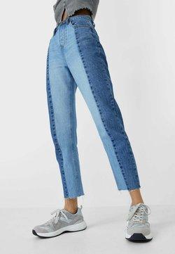 Stradivarius - PATCHWORK - Jeans Straight Leg - blue