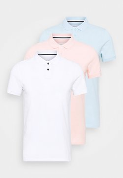 Pier One - 3 PACK - Polo - white/light blue/pink
