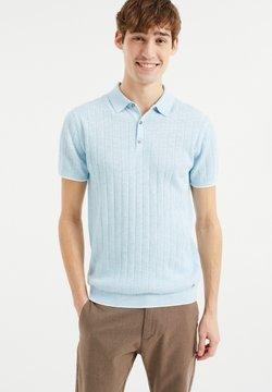 WE Fashion - MET STREEPSTRUCTUUR - Poloshirt - light blue
