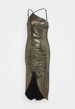 Missguided - GOLD SEQUIN RUCHED DETAIL MIDI DRESS - Cocktailkleid/festliches Kleid - bronze