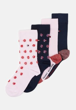 Tommy Hilfiger - KIDS SOCK GIRLS FUZZY DOT 4 PACK - Sokken - pink/dark blue