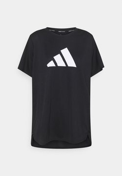 adidas Performance - LOGO TEE - T-Shirt print - black/white