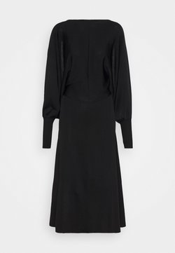 Victoria Beckham - COMPACT SHINE DRAPE SLEEVE OPEN BACK MIDI - Cocktailkleid/festliches Kleid - black/navy