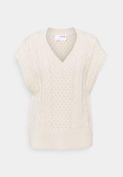 Selected Femme - SLFVICKA CABLE VEST - T-shirts med print - sandshell