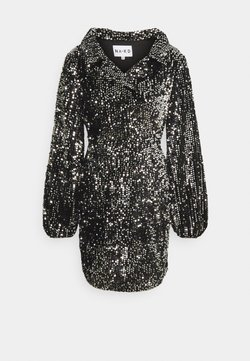 NA-KD - BALLOON SLEEVE DRESS - Juhlamekko - black/silver