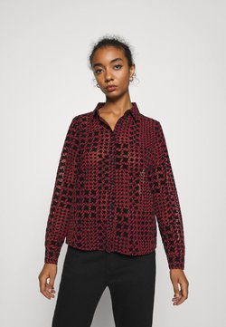 Noisy May - NMJEAN HOUNDSTOOTH SHIRT - Chemisier - black/red
