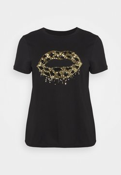 Simply Be - SEQUIN LIPS - Camiseta estampada - black