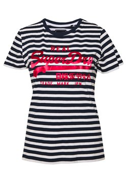 Superdry - STRIPE ENTRY TEE - T-shirts print - navy