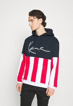 Karl Kani - SIGNATURE BLOCK STRIPE HOODIE - Sweatshirt - navy