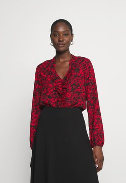 Wallis - SHADOW DITZY FLORAL FRILL - Langarmshirt - red