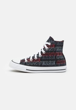 Converse - CHUCK TAYLOR ALL STAR WORDMARK PRINT UNISEX - Korkeavartiset tennarit - black/university red/white