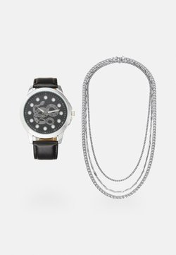 Pier One - WATCH NECKLACES GIFT SET - Rannekello - black/silver-coloured