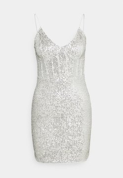 Missguided - SEQUIN MINI DRESS - Cocktail dress / Party dress - silver