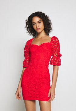 Missguided - SQUARE NECK BODYCON MINI DRESS - Vestido de cóctel - red