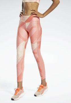 Reebok - RUN ESSENTIALS ALLOVER PRINT LEGGINGS - Medias - red